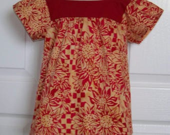 Girls Tunic Top Red Sunflowers Print Red and Beige  Batik Cotton Fabric Toddler Red Blouse or Tunic  Kids Sizes 4 - 10  Toddler Sizes 2T- 5T