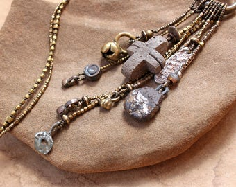 Rustic Earth Talisman Necklace + Wabi Sabi + Ancient Textures + Ceramic, Found Stone, Brass, Fine Silver + Forgotten Ceremony + OOAK