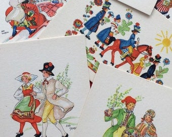 Swedish Postcard Lot Aina Stenberg Artist Signed Folk Couples in Costumes of Provinces Miniature Card Set 1945