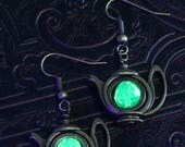 Teapot Earrings with green Uranium glass, Vaseline glass, UV reactive