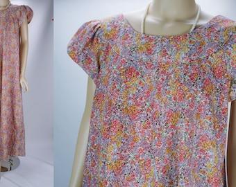 Vintage 90s Dress Pink Flowered Liberty House Hawaiian Mumu Sz 16 VOLUP B44 W58