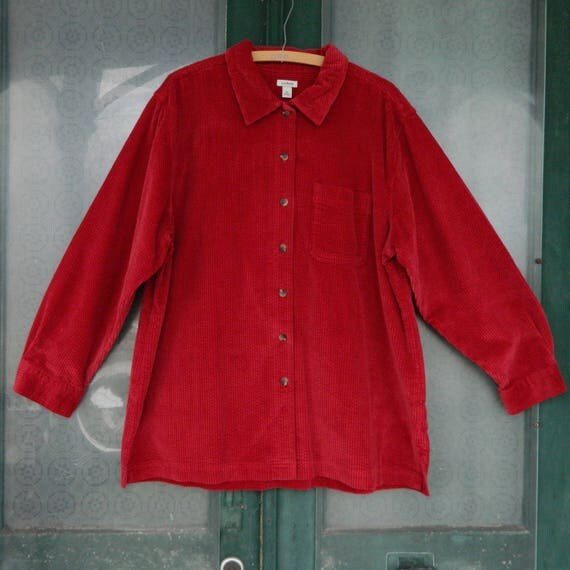 LL Bean Long Sleeve Shirt -1X- Red Wide Wale Cotton Corduroy