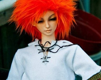 Akasarushi Orange Color Fur Wig Made for abjd doll size SD MSD tiny yosd and puki