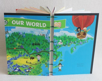 Asia Travel Journal Recycled Our World Game Board Book Upcycled Board Game by PrairiePeasant