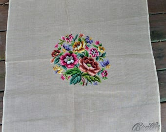 "Vintage Floral Bucilla Preworked Needlepoint Canvas 29993/27, 27"" X 27"" - Large Decorator for Seat Cover, Pillow"