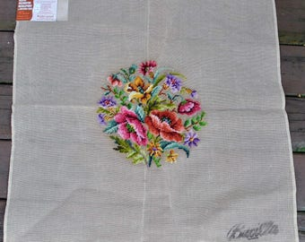 """Vintage Floral Bucilla Preworked Needlepoint Canvas 29990/27, 27"""" X 27"""" - Large Decorator for Seat Cover, Pillow"""