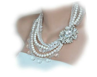 Royal Weddings , Rhinestone Brooch,Victorian Style Weddings Chunky Statement Pearl and Crystal Necklace