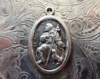St. Roch / Rocco Protector Of Dogs & Surgeons, Vintage Italian Religious Medal Catholic Necklace Pendant Holy Medallion Charm, Pray For Us