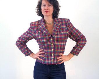 Sharon, 80s Rainbow Plaid Blazer S M, 80s Plaid Jacket, Rainbow Microplaid Blazer, Bright Plaid Women's Blazer, Cropped Jacket, Mod Jacket