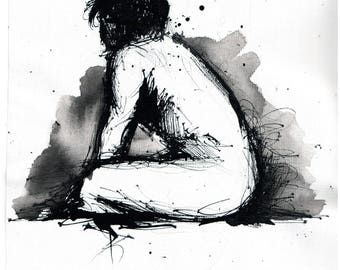 Nude male sketch - 8x12 Ink painting on canvas A4 - sitting nude man - profile