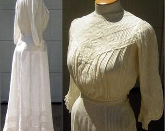 Victorian Wedding Dress 2 pc Tea Gown - Ivory Cotton Shirred Stripe Semi-Sheer - Downton Abbey - XXS