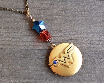 Wonder Woman Gold Locket Necklace Superhero Comic Charm Blue Star & Red Glass Bead Justice League Fans Megacon Comic Book Lover Pendant