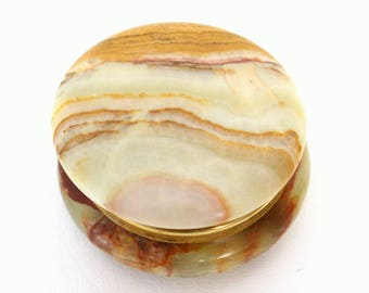 Small Round Onyx Stone Trinket Box with Hinged Lid
