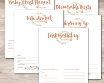 Watercolor Wreath Coral Pink Baby Book Pages- Your Choice Pages!