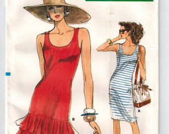 Vintage 80s Dress Sewing Pattern Form Fitting Straight Tank Top Optional Flounced Skirt Size 6 8 10 Two Lengths Very Easy Vogue 7176 Uncut