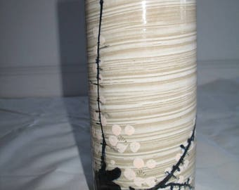 Vintage Tall Vase With Brushed Plum Blossoms or Ume