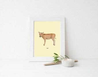 Farm Cow Calf Art PRINT l Cow Nursery Wall Art l Custom Color Choice l Watercolour l Gender Neutral l Nursery Decor l Yellow Green Blue Pink