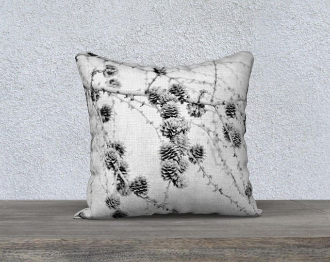 Pine Cones and Tree Branch Black and White Velveteen Throw Pillow Cover