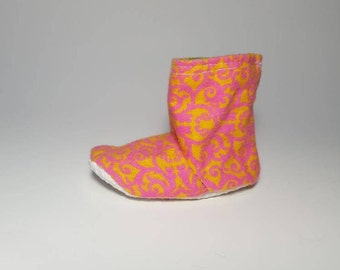 Pink/Orange Baby Boots