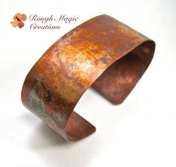 Simple Copper Cuff 1 Inch Wide Unisex Cuff Bracelet Primitive