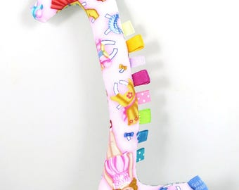 Handmade Taggy Giraffe Tactile Baby Toy - pink paper dolls & teal bricks