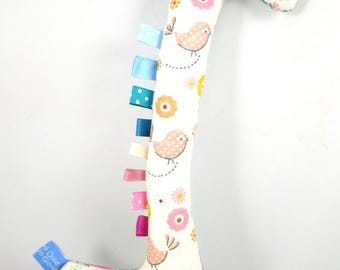 Handmade Taggy Giraffe Tactile Baby Toy - pastel pink birdies & teal bricks