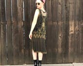Black and Gold Sequin Dress // Flapper Costume // Great Gatsby // 1920s Clothing // Art Deco // Retro Prom // Antique Vintage // XS SMALL
