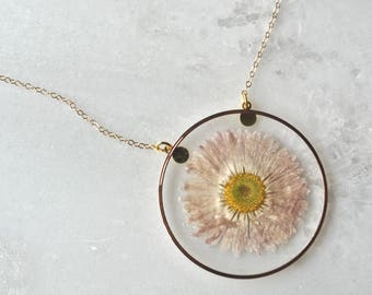 White Pressed Daisy Necklace, Pressed Flower Necklace, Botanical Jewelry, 14k gold fill