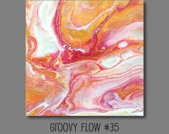 Groovy Abstract Acrylic Flow Painting #35 Ready to Hang 8x8