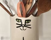 Cat pottery planter: utensil holder feline decor Jardiniere herb planter cat nip holder stoneware ready to ship