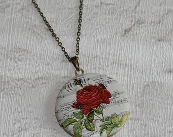Red Rose Locket Necklace, Floral Necklace, Flower Locket Necklace