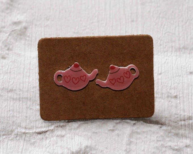 Pink Teapot Earrings, Teeny Tiny Earrings, Afternoon Tea Jewelry, Cute Earrings