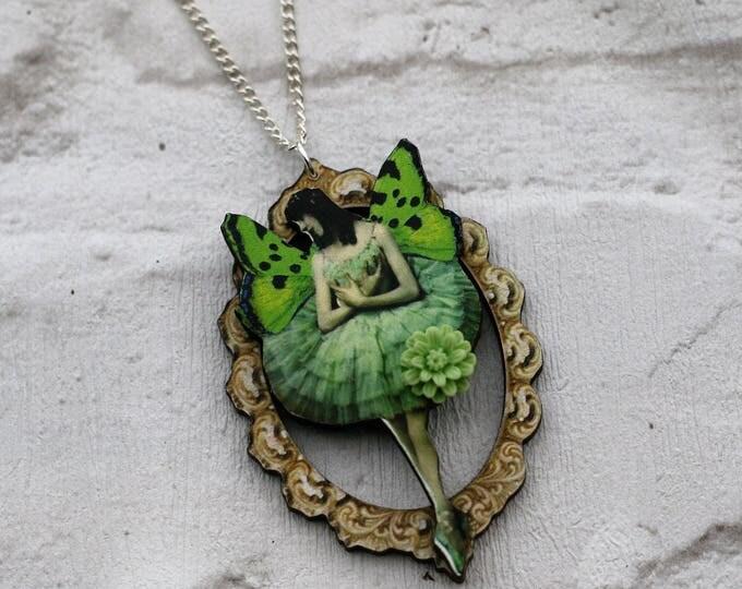 Green Fairy Necklace, Pixie Pendant, Illustration Jewelry, Wood Jewelry