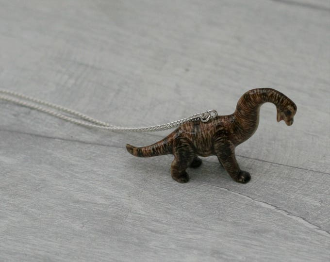 Porcelain Dinosaur Necklace, Animal Necklace, Brachiosaurus Necklace