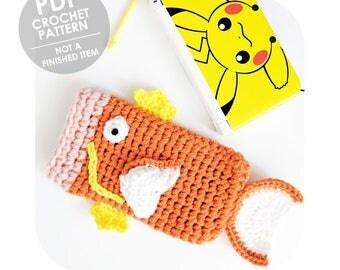 crochet pattern - 3ds xl case - 3ds xl sleeve - crochet 3ds sleeve - nintendo 3ds xl - pokemon magikarp - pokemon 3ds case - magikarp