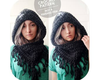 crochet pattern - chunky hooded cowl - cowl hood with fringe - huge cowl fringe - cozy cowl hood - jumbo cowl - fantasy costume cowl hood