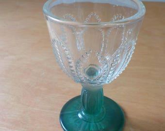 Vintage Single Wine Glass • Antique Green Stem Clear Top Glass • Ornate Antique Wine Glass