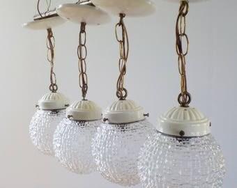 vintage hanging pendant lights u2022 set of four clear glass hanging lights u2022 vintage salvaged lights