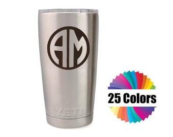 Yeti Decal Monogram Custom 2 Letter Round Circle Monogram DIY Gift Tumbler Rambler RTIC Ozark 25 Colors