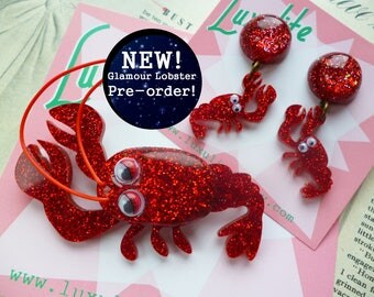 PRE-ORDER! New Sparkly Glamour Lobster 1940s 50s style underwater themed novelty brooch and earrings by Luxulite
