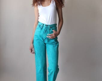teal high waist jeans | vintage wrangler jeans | 1980s xs small