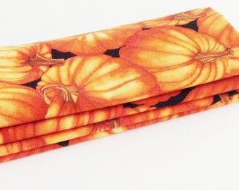 Fall Pumpkin Patch Cotton Napkins / Set of 4 / Eco-Friendly Thanksgiving Table Decor / Orange, Brown, Black /  Unique Hostess Gift Under 50
