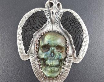 Raven Skull Necklace, bird skull, wings, skull, sterling silver, Halloween, halloween jewelry, skull jewelry, michele grady, statement piece