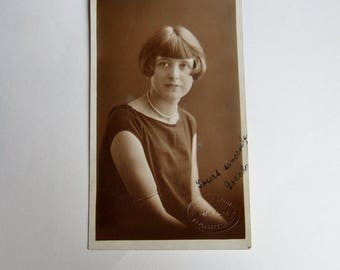 Photo Postcard of A 1920s Girl  -  Vintage British Black and White Found Photo Postcard of Young Lady with Bobbed Hair