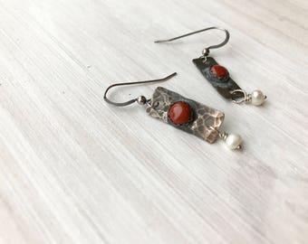 sterling silver and jasper earrings, red jasper and freshwater pearl earrings, rustic earrings, southwestern earrings, hand set jasper, boho