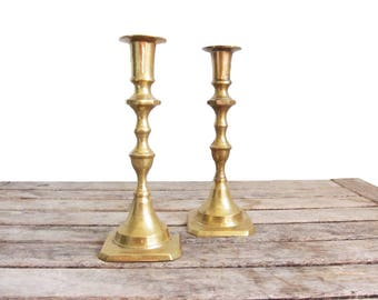 Vintage Brass Candle Holders - Indian Brass Candlesticks - Pair of Brass Candleholders - Hollywood Regency Classic Formal Dinner - Octagon