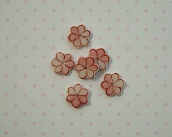 Pink Flower Embellishment set of 6