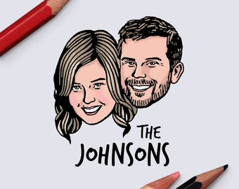Custom couple portrait Personalized unique gift Save the date / Drawing customized graduation bachelorette wedding bridal party bridesmaid