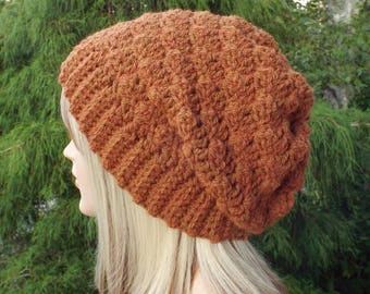 Harvest Orange Crochet Hat, Womens Slouchy Beanie, Oversized Slouch Beanie, Chunky Hat, Slouchy Hat, Winter Hat, Slouch Hat