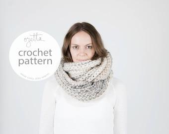 Crochet Pattern / Infinity Scarf, Ribbed Texture, Cowl / THE KOBUK